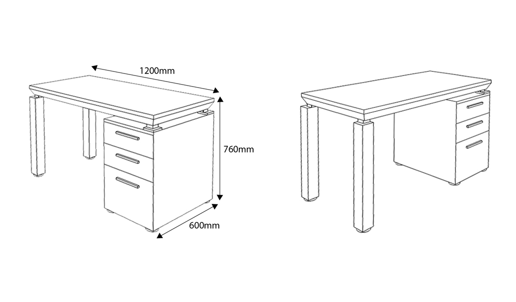 shop drawing of Eazy 4 feet office desk with size