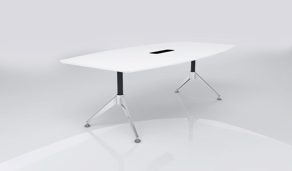 white meeting table with steel legs