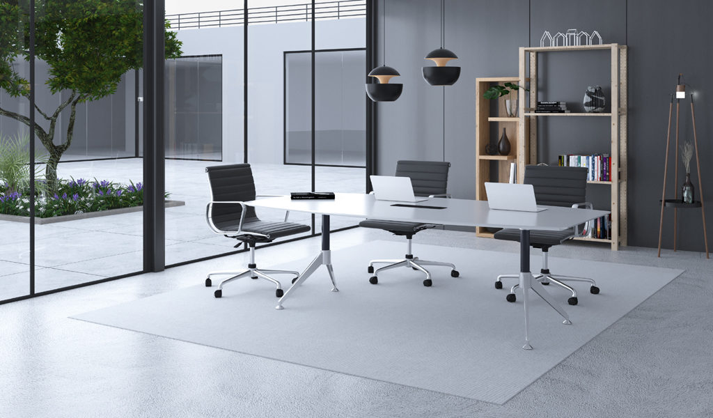 modern meeting room with white table