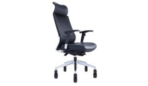 high back executive chair in black leather