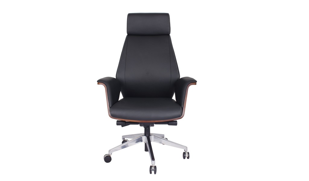 premium high back office chair in black leather