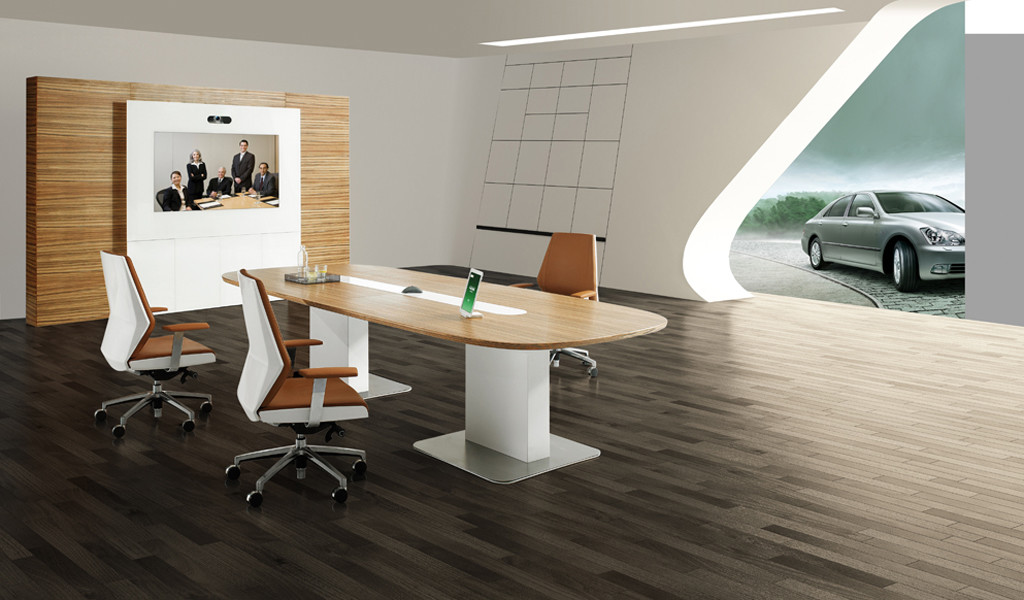 contemporary office with meeting table and zebra veneer