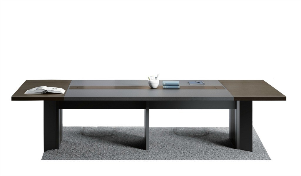 10 seater meeting table in walnut and leather finish
