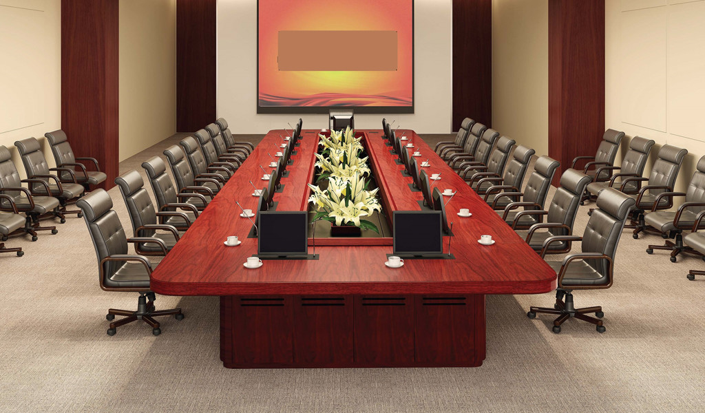 large conference room with meeting table and leather chairs