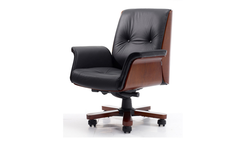 medium back office chair in chesterfield style leather upholstery