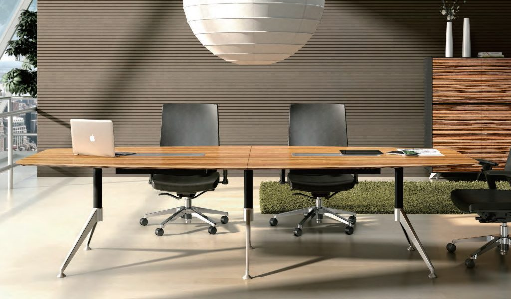 modern office with conference table, leather chairs and cabinet