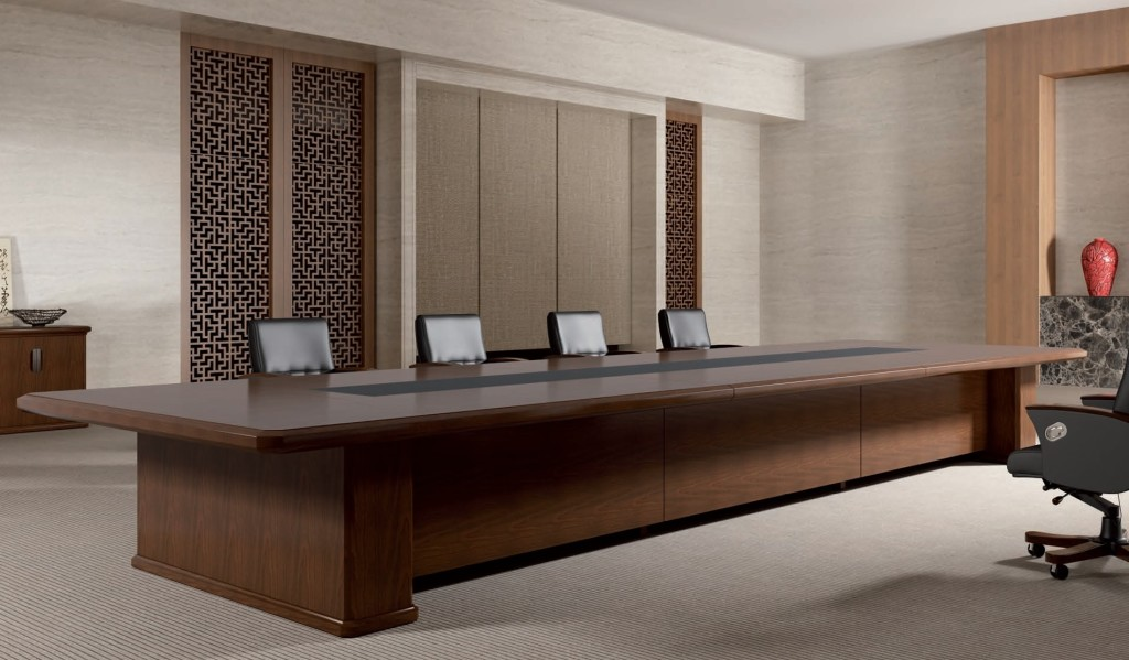 classy boardroom with large meeting table and leather chairs