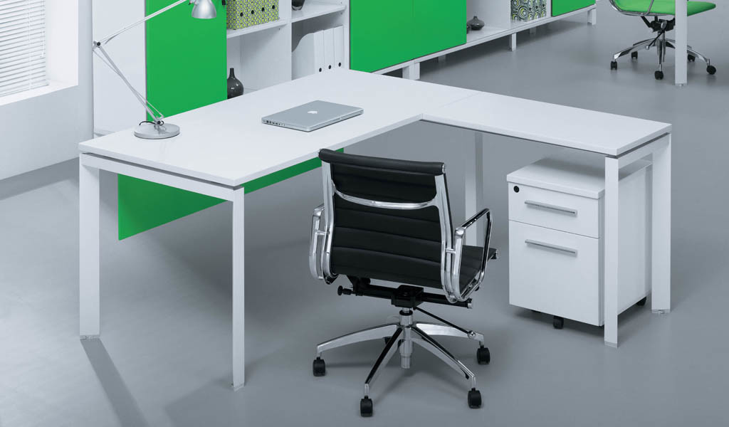 modern office with white L shape desk and black leather chair