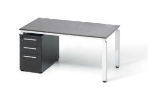 single seater workstation with storage pedestal in dark veneer finish