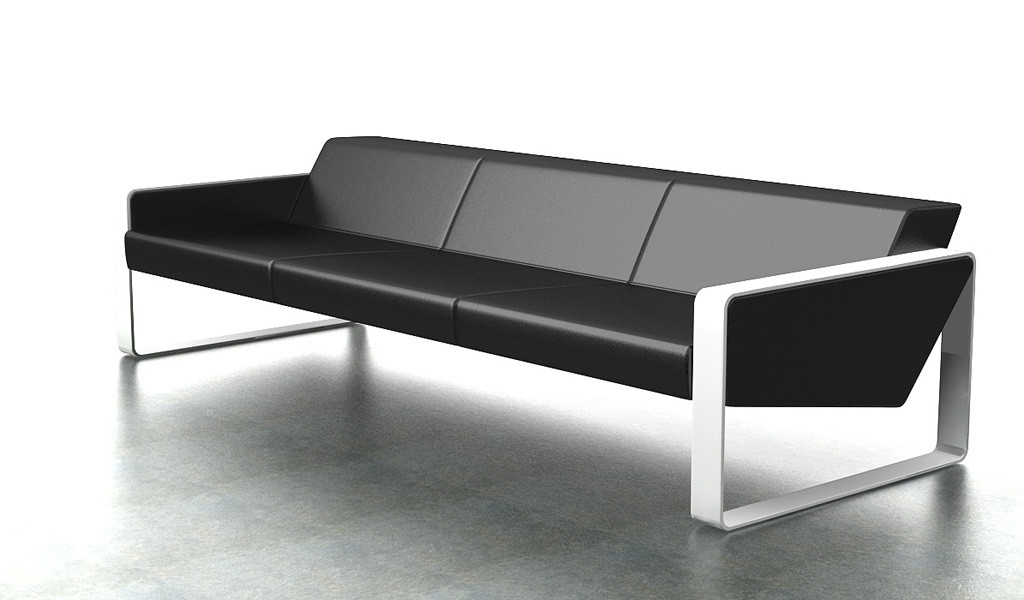 contemporary office sofa in leather with white metal frame