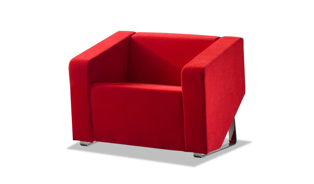 single seater sofa in red fabric