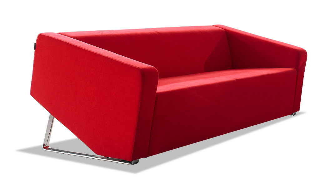 stylish three seater sofa in red fabric