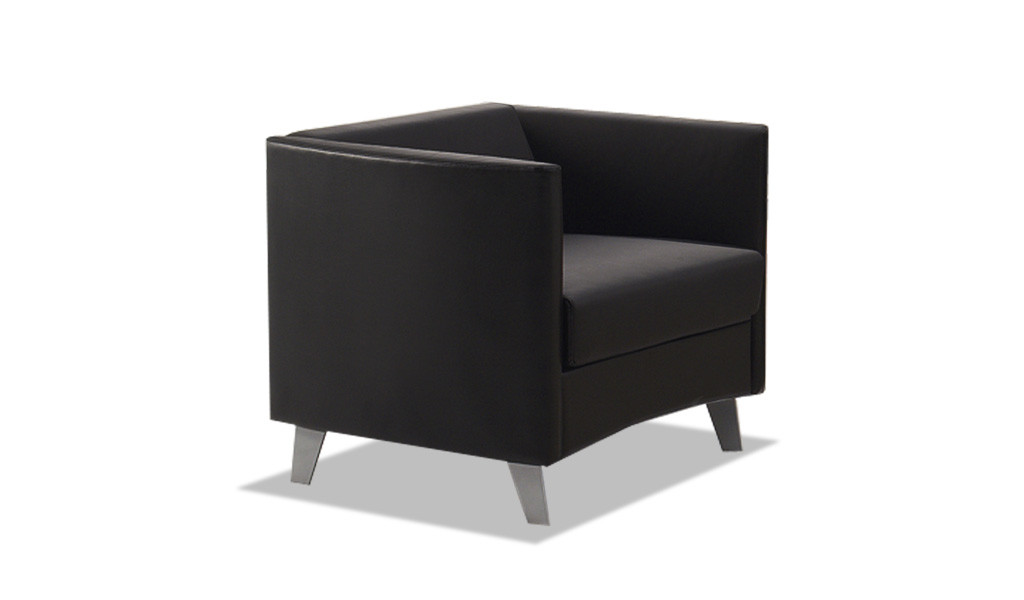 modern single seater office sofa in black leather