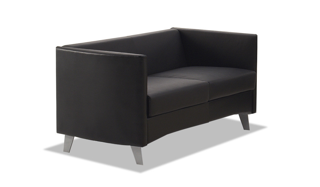 sleek two seater office sofa in black PU leather