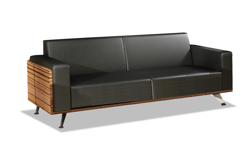 three seater sofa in black leather with steel legs