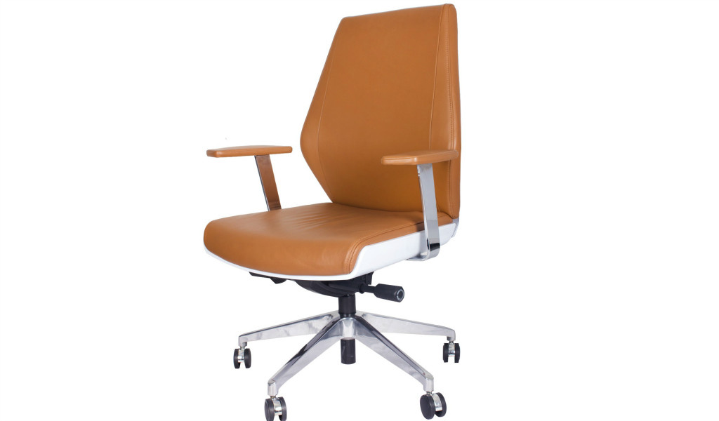 medium back office chair in tan leather and steel base