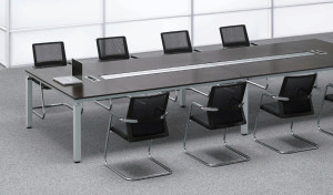 conference table in red oak veneer with wire management