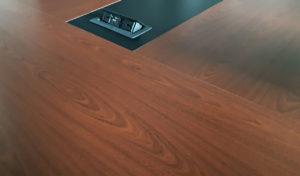 sapele laminate top conference table with wirebox