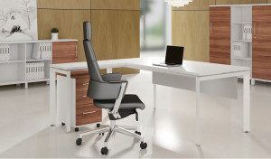 office cabin with desk with side return and black leather chair