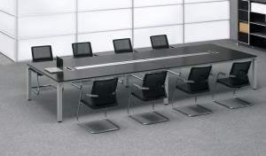 contemporary conference room with red oak finish meeting table