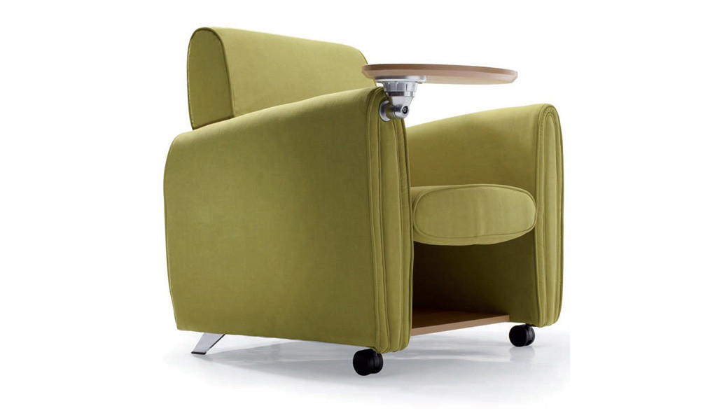 green color auditorium chair with writing pad and castors
