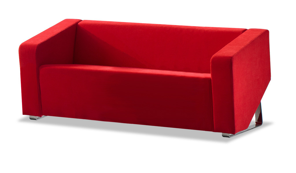 three seater office sofa with red fabric and stainless steel base