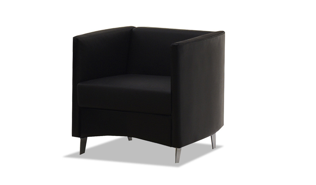 modern single seater office sofa in black leather with silver metal legs