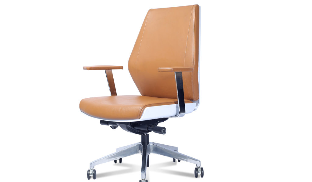 office chair in tan leather