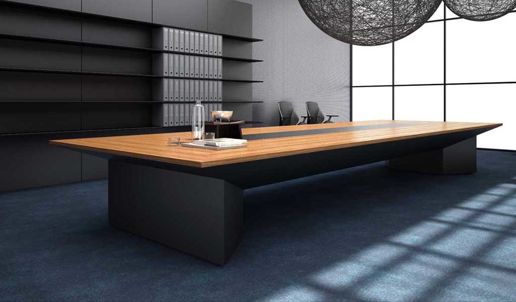 contemporary boardroom with a large meeting table in zebra veneer