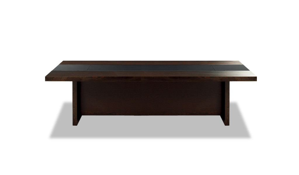 elegant meeting room table in wood and leather finish