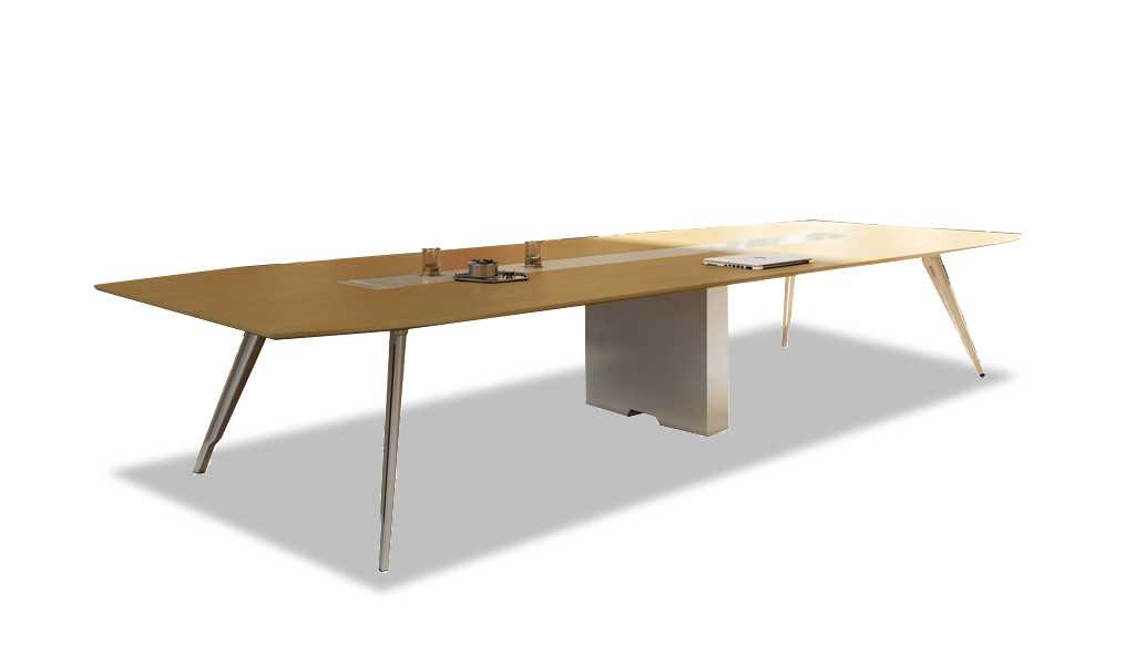 meeting table with light wood top and silver metal legs