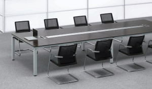 modern conference room with 12 seat meeting table with wire tray in the center