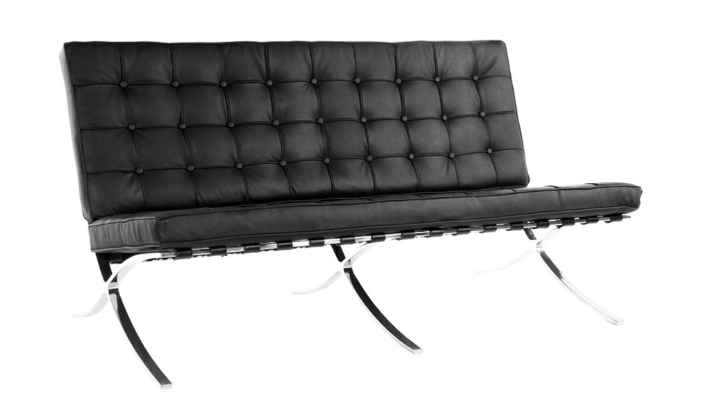 barcelona style three seater office sofa in black leather