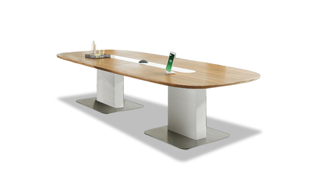 meeting table with zebra veneer top