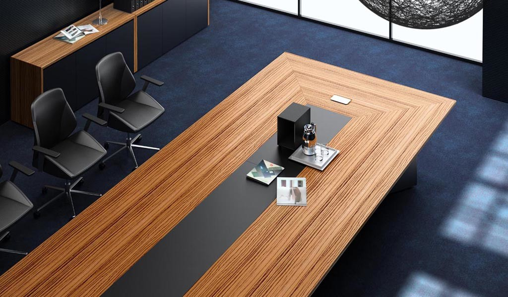 meeting table with zebra veneer and leather top
