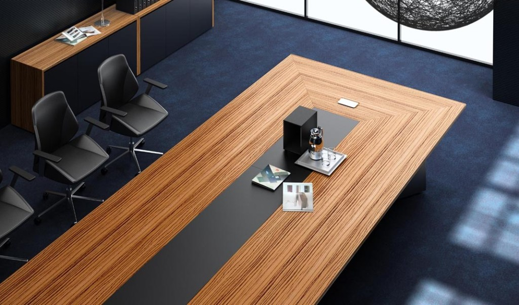 conference table with zebra veneer and leather top