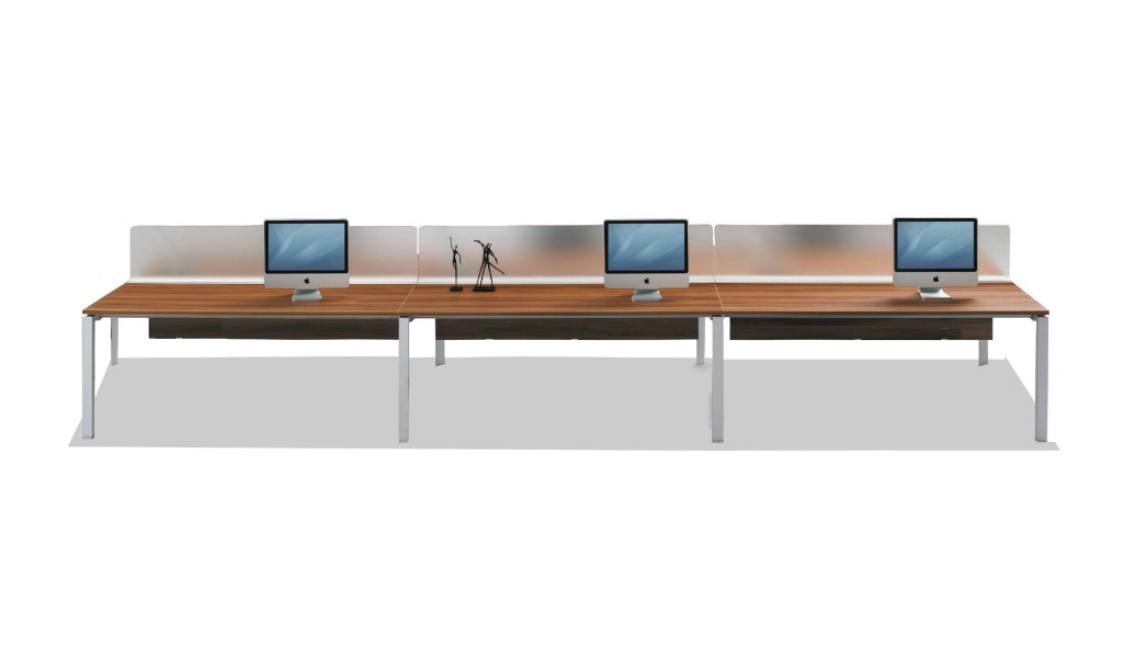linear office workstation with frosted glass desktop screen