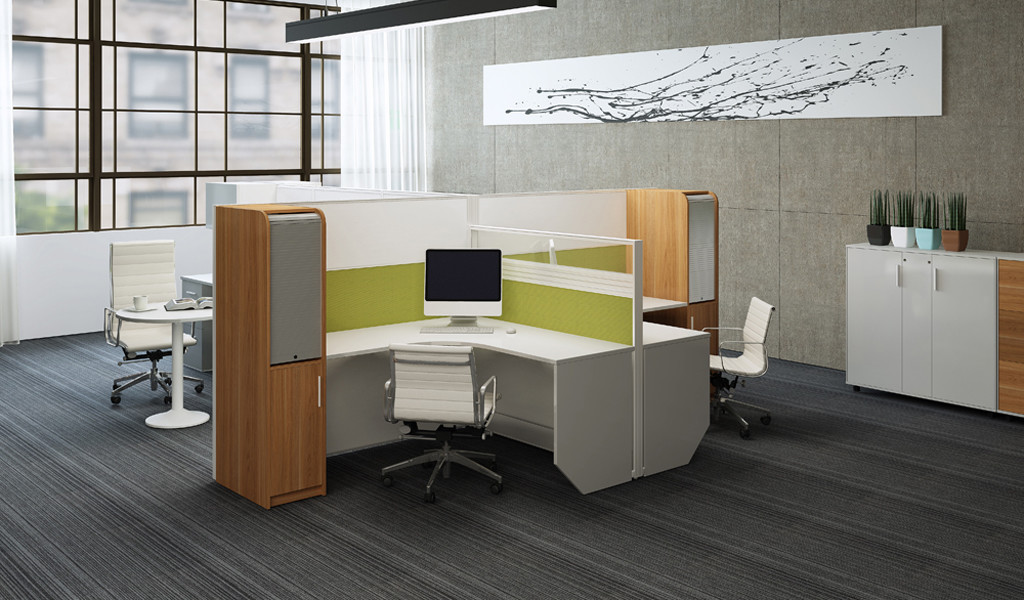 L shape office cubicle with storage cabinet