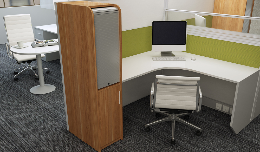modular office cubicle with cabinet