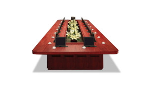 large meeting table with inbuilt LED screens