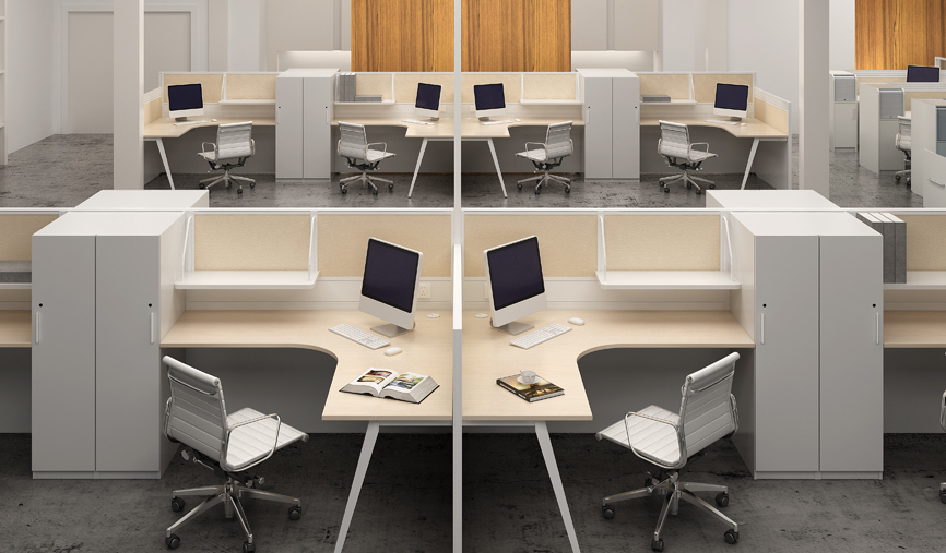 contemporary office with L shape modular workstations