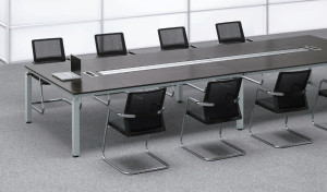 Conference room with conference table and black chairs
