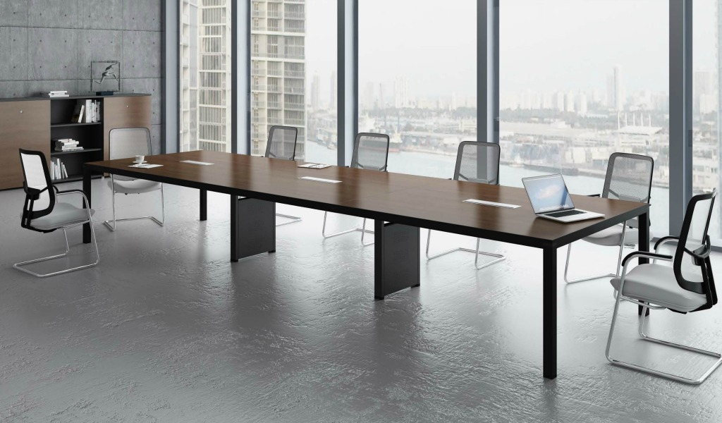 39 berlin 39 16 seater conference table in walnut finish boss 39 s cabin. Black Bedroom Furniture Sets. Home Design Ideas