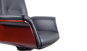 office chair armrest and seat in black leather