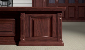 solid wood conference table with classical carvings