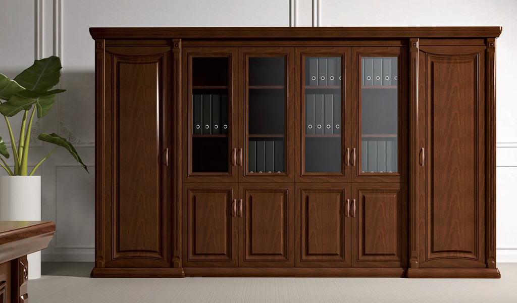 wall to wall bookshelf and cabinet in a classical design