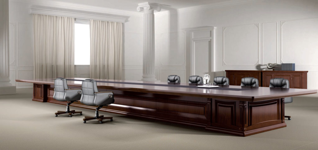 classic boardroom table with leather chairs