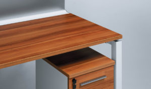 office workstation with red apple walnut top