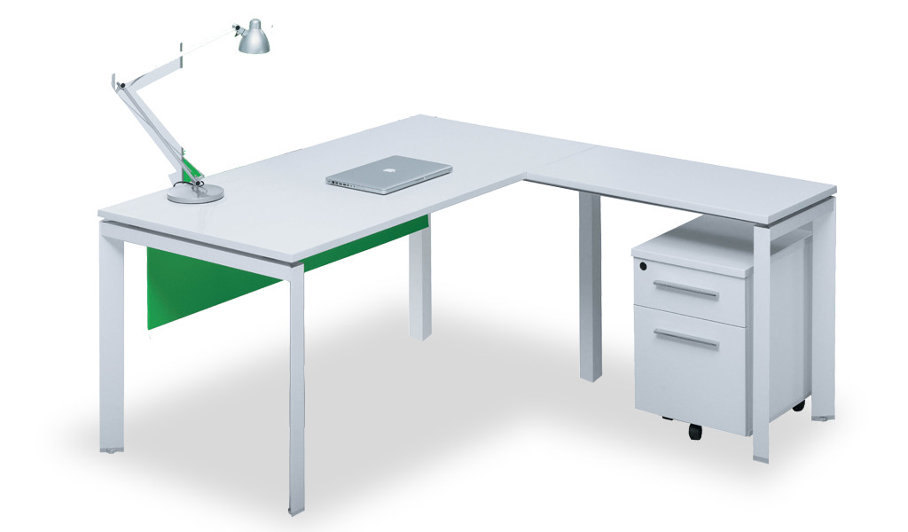 L shape office table in white laminate