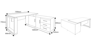 shop drawing of Linz 5 feet office desk with side cabinet